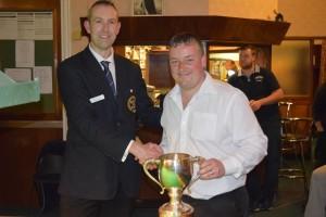 Richard Bakes Presents 2015 Bradford Singles Trophy To Wayne Cooper