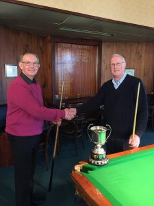 Trevor Kershaw, left, and Paul Devitt before their Bradford Billiards Championship final, which Kershaw won by a point
