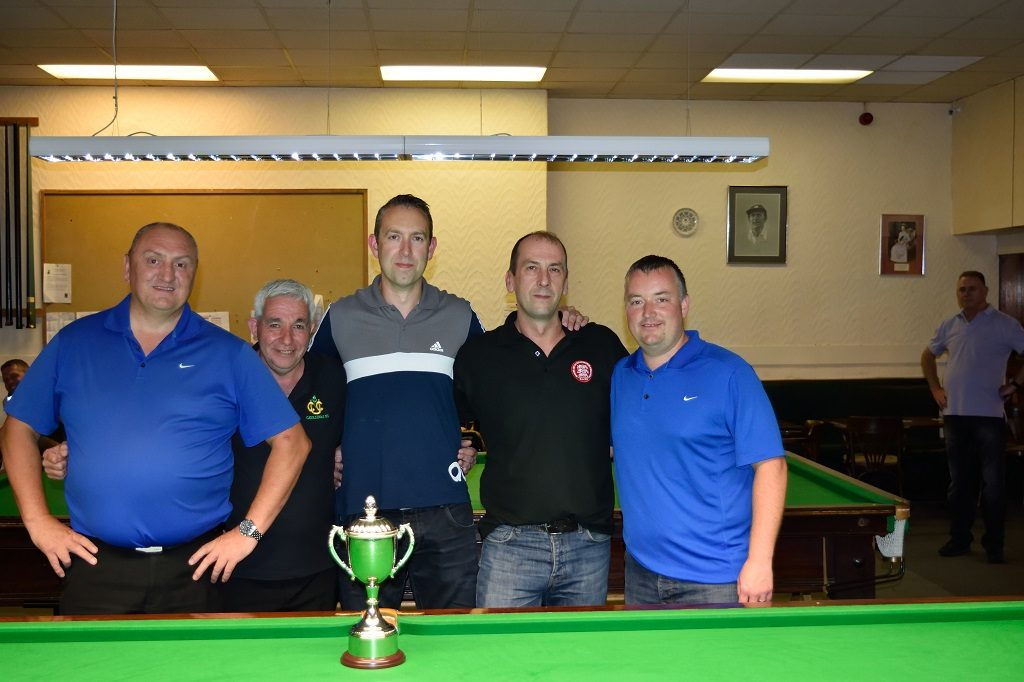 """Undercliffe Cricket """"A"""" South Bradford League Summer Cup Winners David Stirk, Phil Gaunt, Richard Bakes, Kevin Firth, Wayne Cooper"""